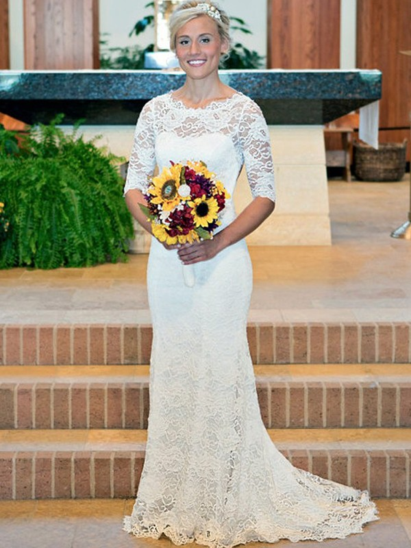 Sheath/Column Lace Scoop 1/2 Sleeves Long Wedding Dress