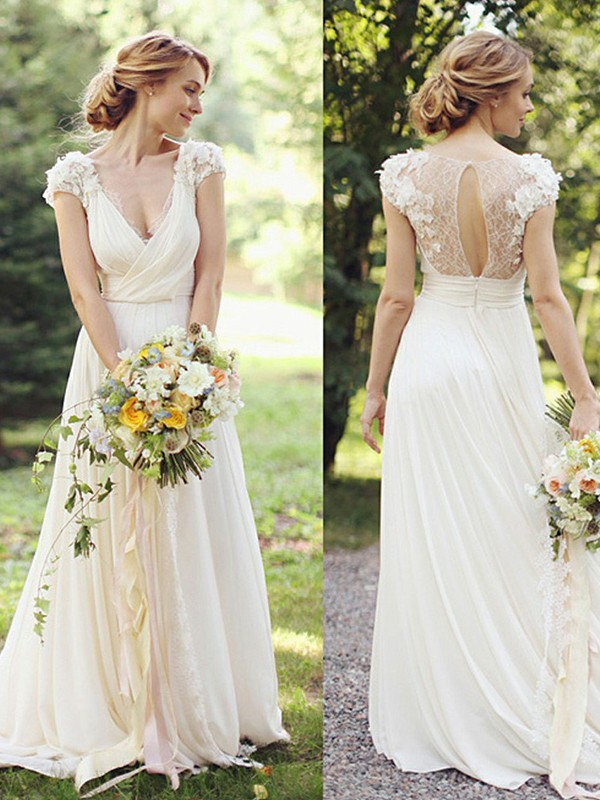 A-Line/Princess Chiffon V-neck Short Sleeves Long Wedding Dress