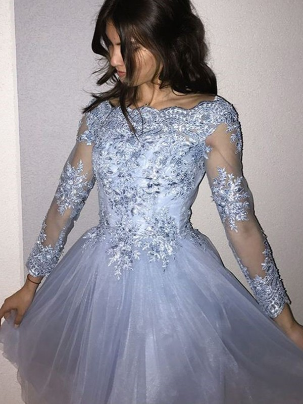 A-Line/Princess Off-the-Shoulder Tulle Short Dress