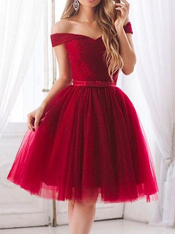 A-Line/Princess Tulle Off-the-Shoulder Short Dress