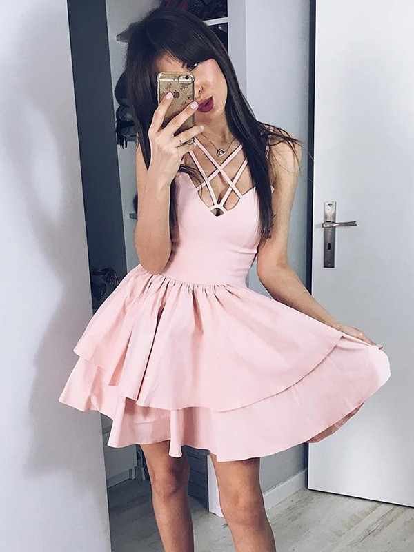 A-Line/Princess Satin Spaghetti Straps Short Dress