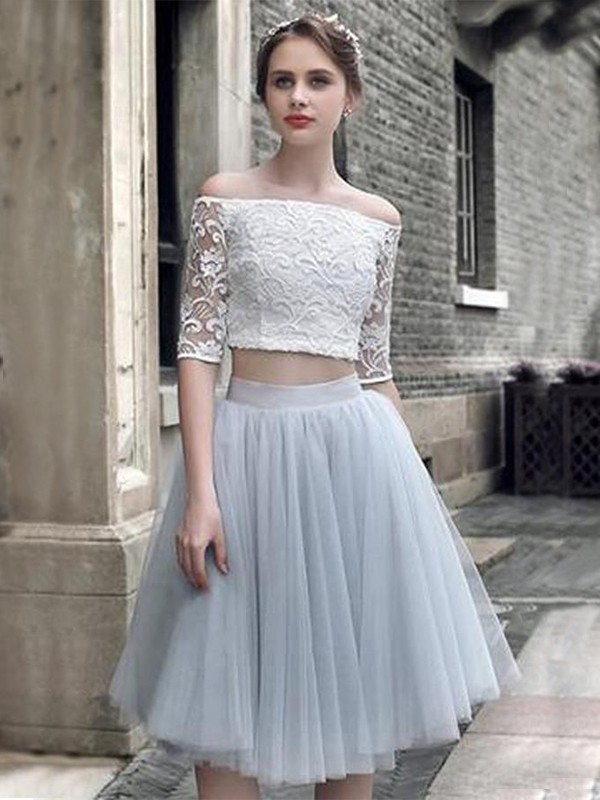 A-Line/Princess Tulle Off-the-Shoulder Short Two Piece Dress