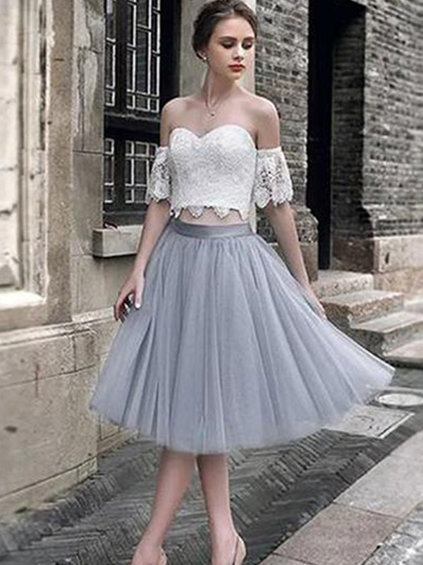 A-Line/Princess Lace Sweetheart Tulle Tea-Length Two Piece Dress