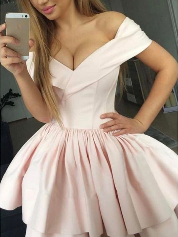 A-Line/Princess Satin Off-the-Shoulder Short Dress