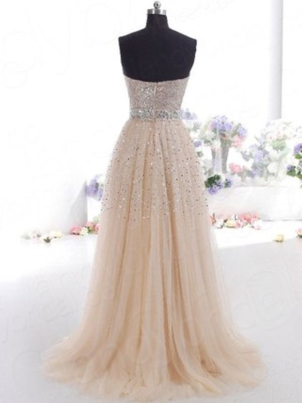 A-Line/Princess Sweetheart Tulle Long Dress