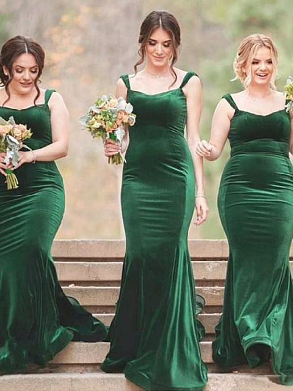 Long Sheath/Column Spaghetti Straps Bridesmaid Dress