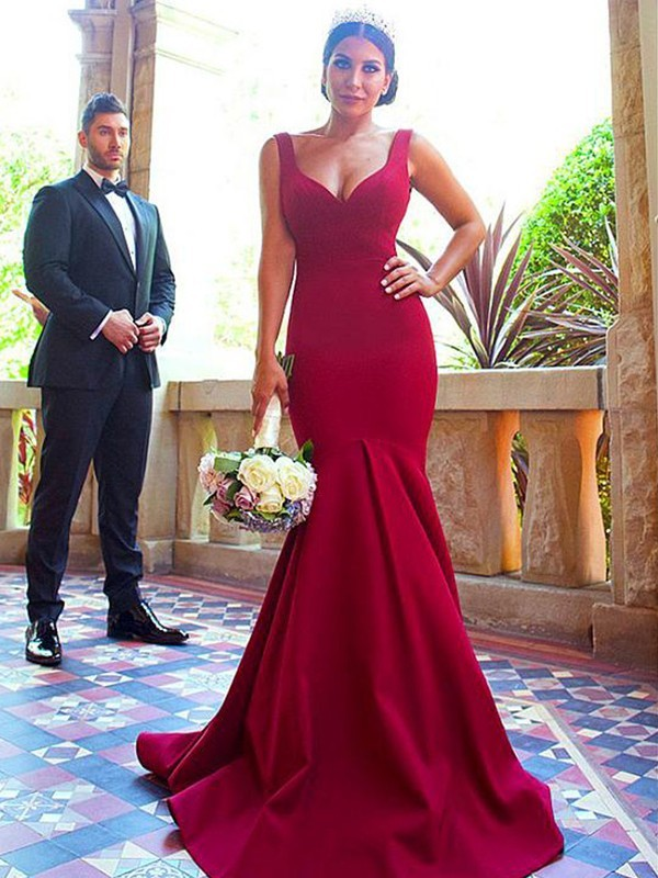 Long Mermaid V-neck Elastic Woven Satin Bridesmaid Dress